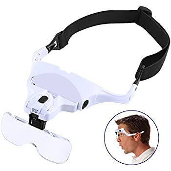 Amazon Com Headband Magnifier With Led Light Soonhua