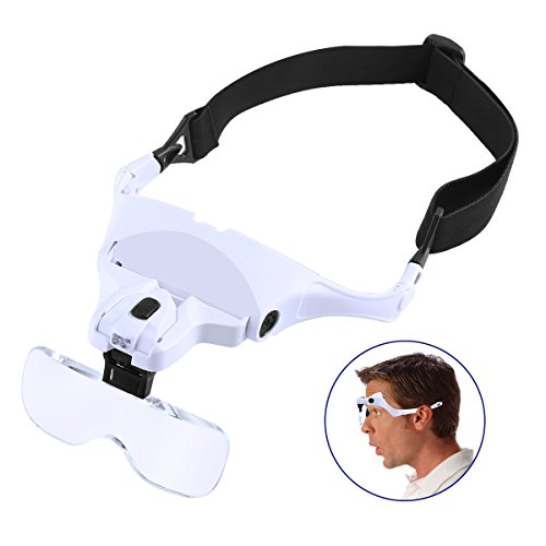 Headband Magnifier with LED Light, SOONHUA Head-mounted Magnifier Handsfree Reading Magnifying Glasses, Jeweler's Loupe Glasses (1.0X, 1.5X, 2.0X, 2.5X, 3.5X) 5 Replaceable Lenses (Reading Wear Glasses)