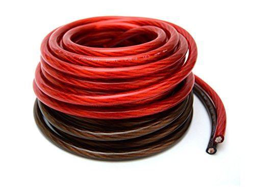 4 Gauge 25' BLACK and 25' RED Car Audio Power Ground Wire Cable 50' ft Total ()
