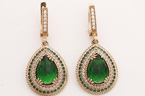 Turkish Handmade Jewelry Drop Shape Pear Cut Emerald and Round Cut Topaz 925 Sterling Silver Dangle/Drop Earrings