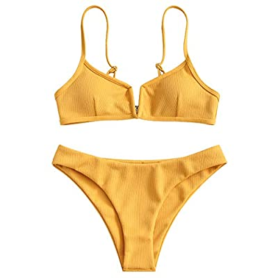 ZAFUL Women's V-Wire Padded Ribbed High Cut Cami Bikini Set Two Piece Swimsuit: Clothing