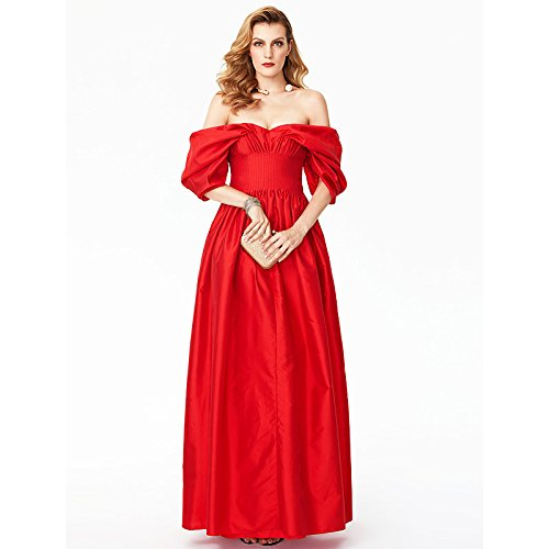 Lunghezza Una sera Off TS Il abito formale prodotti pianale raso con Princess pieghe di da spalla kekafu rossore linea da rosa di la fHdnq88