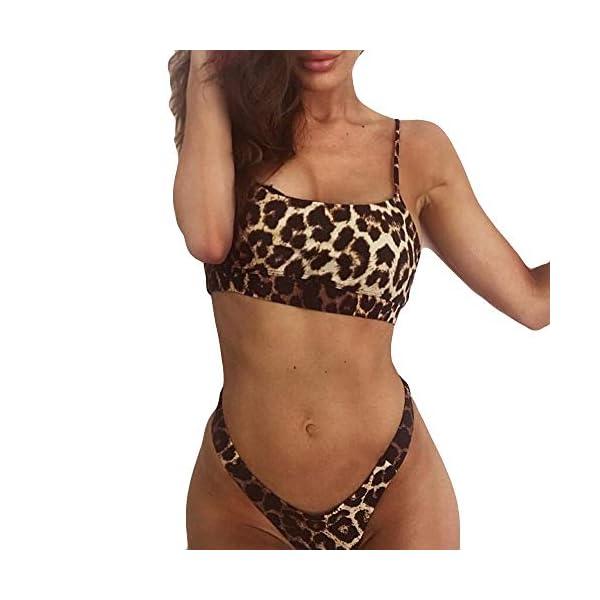FRAUIT Costumi Donna Mare Due Pezzi Leopardato Trikini Ragazza Brasiliana Costume Due Pezzi Imbottito Vita Alta Bikini… 1 spesavip