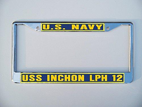 (USS INCHON LPH 12 License Plate Frame Metal or Plastic B1)