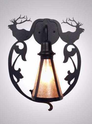 Steel Partners Lighting BAV2230 Sconce Bavarian Elk 60 Wattage, Black Finish White Mica ()