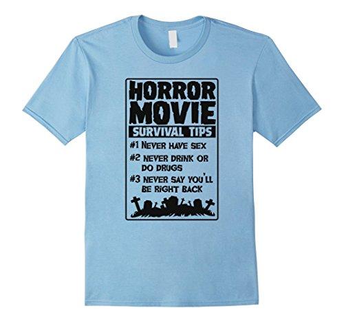 Mens Horror Movie Survival Tips Funny T-Shirt for Men Women Kids XL Baby (Funny Tips For Halloween)