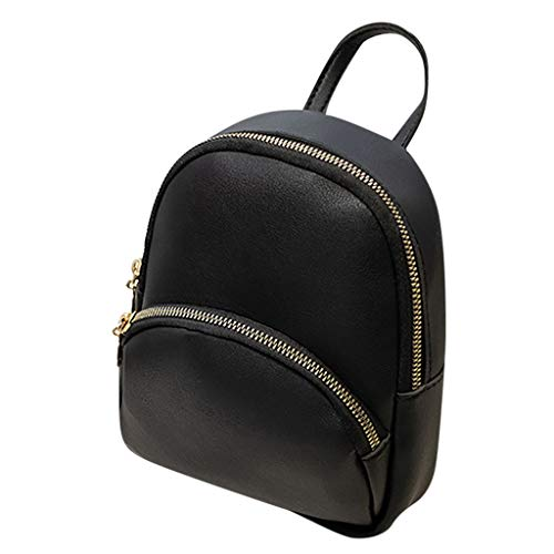 Fashion Lady Shoulders Small Backpack with Headphone Plug Letter Purse Mobile Phone Messenger Bag (Black)