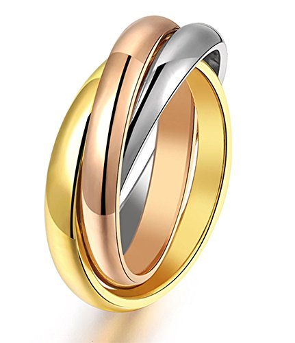 Women's 316L Stainless Steel Tone Interlocked Rolling Wedding Band Rings,Tri color:Gold,Silver,Rose(Size 8) (Ring Wedding Steel Stainless Rolling)