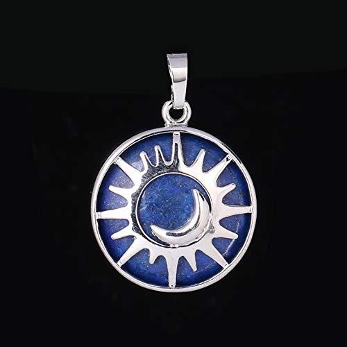 VATT Sun & Moon Pendant Reiki Healing Natural Stone Purple White Crystal Quartz Beads for Jewelry Making Necklace Women Men Lapis Lazuli