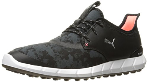 (PUMA Golf Women's Ignite Spikeless Sport Floral Golf Shoe, Black/Silver/Dark Shadow, 9.5 M US)