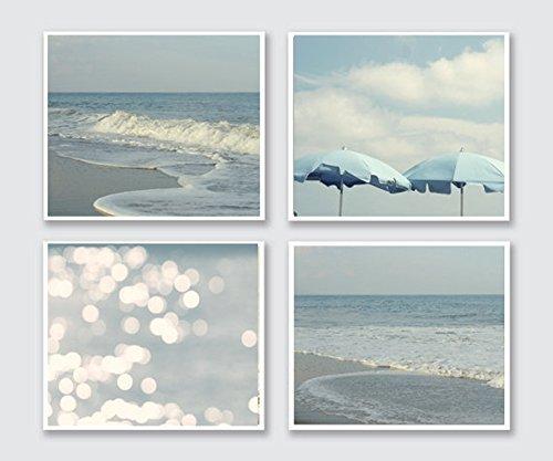 Shabby Chic Beach Cottage Wall Art, Coastal Beach Print Set of 4, Ocean Waves Photography, Beach Umbrellas, Abstract Light Bokeh Photo Prints, Pastel Blue Nautical Bathroom or Bedroom Decor Set