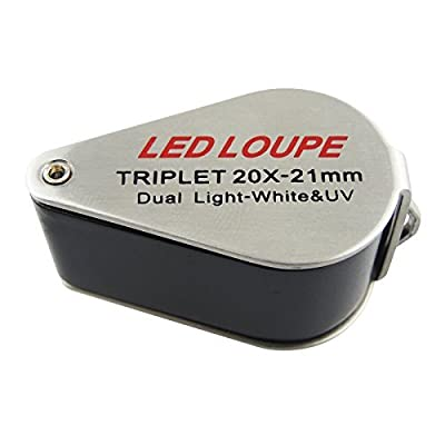 Mini Jeweler Loupe 20x Magnifier with LED and Uv Light by Gain Express Holdings Ltd.