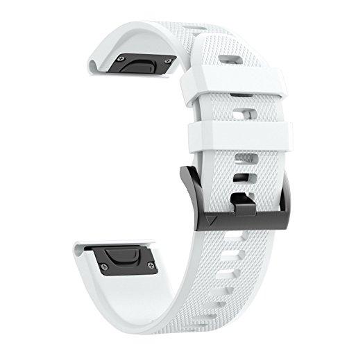 ANCOOL Compatible Garmin Fenix 5 Band Easy Fit 22mm Width Soft Silicone Watch Strap Compatible Garmin Fenix 5/Fenix 5 Plus/Forerunner 935/Approach S60/Quatix 5 - White