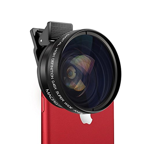 2-in-1 IPhone, Samsung Clip-On Camera Lens Kit Includes 0.45X Wide Angle Lens and 15X Macro Lens, Professional Japan Optics, With 37MM For Photo And Video