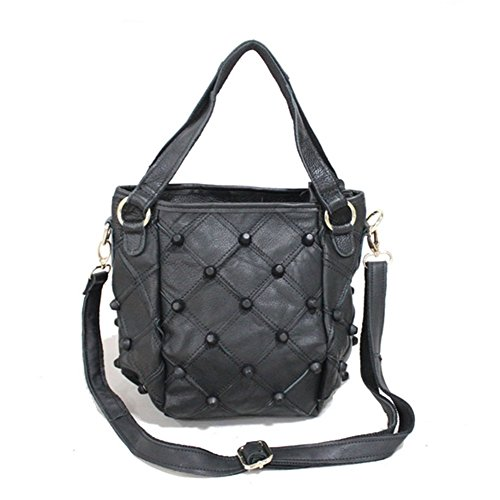 Cherrygoddy-a Mobile Messenger Bag New Leather Color Leather Stitching Small Fresh Fashion Handbags(black)