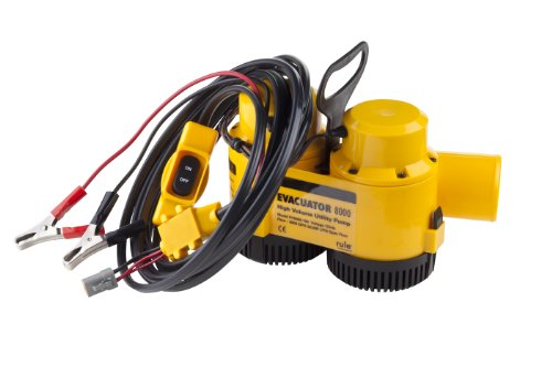Rule Evacuator 8000-High Capacity Submersible 12 Volt DC Utility Pump (Yellow/Black)