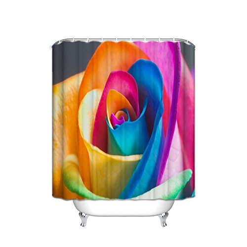 - Rose Decorative Shower Curtain, Vintage Victorian Style Origami Rose Pattern With Dramatic Color Boho Art Design, Fabric Bathroom Set With Hook, 72W X 80L Inches, Multicolor
