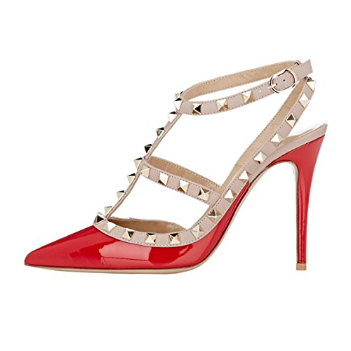 VOCOSI Women's Slingbacks Strappy Sandals for Dress,Pointy Toe Studs High Heels Sandals Shoes P-Red 5.5 US