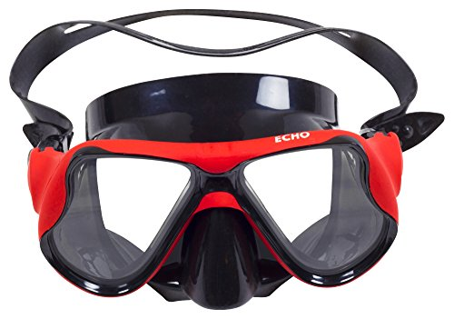 Premium Diving Mask By Echo Aquatics - Classic Design Snorkeling Scuba Mask - Anti-Fog Tempered Glass Lens - Adjustable Silicon Straps - Air-Tight Fit - Suitable For Beginner & Experienced (Homemade Costumes With Tights)