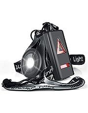 Myguru USB-oplaadbaar looplicht LED Running Light, sportlamp borst lamp 3 modi verlichting 250 LM voor outdoor sport joggen lopen vissen klimmen