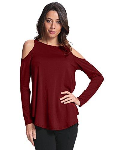 Sexy Elegante per Shirt Casual Maliga Ufficio T Bordeaux Mezza Donna StyleDome Girocollo Maniche Camicetta Maniche Lunghe wqIxfXnH1B