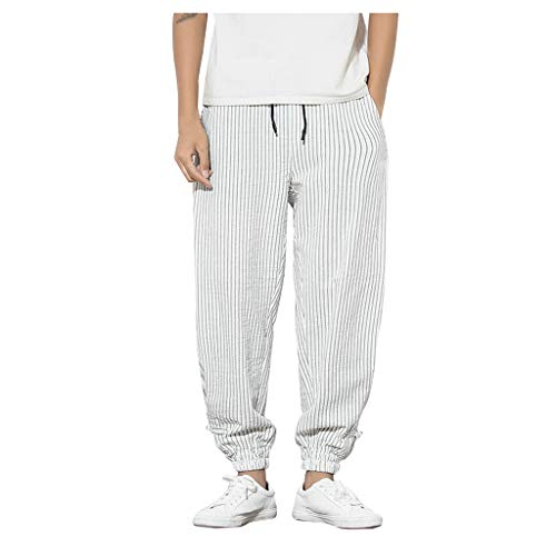 Men's Casual Baggy Pants - Men Striped Drawstring Elastic Waist Cotton Linen Beach Pants - Comfy Loose Tapered Trousers