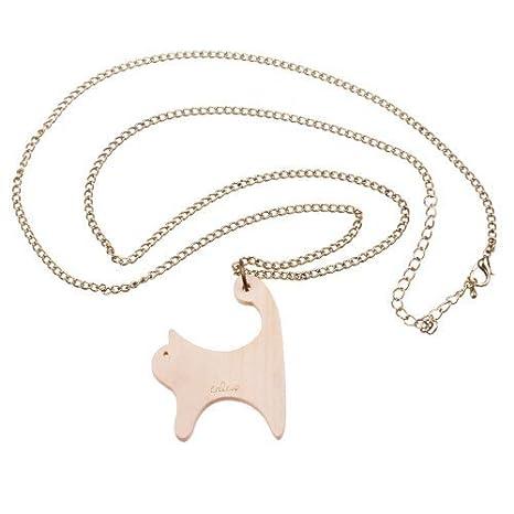 WeAreAwesome Gatos Collar Madera - Aprox. 70 cm Cadena Larga - Gato Colgante De Bronce Gato Meow: Amazon.es: Hogar