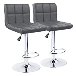 Kitchen KaiMeng Bar Stools Modern Square Counter Height Barstool 22″ to 33″ PU Leather Swivel Adjustable Stool with Back Set of 2 for Kitchen Dining (Grey) modern barstools