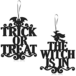 ERKOON 2 Set Halloween Hanging Sign Decorations Non-Woven Trick Or Treat and The Witch is in for Door and Wall Decoration Indoor Outdoor Yard Haunted House Party Supplies 14 x 12 Inch