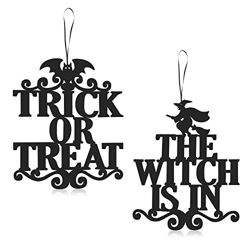 Vintage Halloween Trick Or Treaters (ERKOON 2 Set Halloween Hanging Sign Decorations Non-Woven Trick Or Treat and The Witch is in for Door and Wall Decoration Indoor Outdoor Yard Haunted House Party Supplies 14 x)