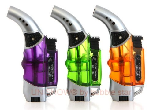 UNISHOW® ergonomic Transparent 45 Degree Angle Refillable Butane Torch Jet Pocket Lighter (Random Color)- 4 1/4 Inch By Bubble ()