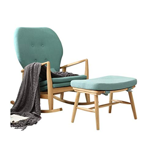 SHANJIANQING Rocking Chairs Single Rocking Chair Made of Solid Wood, with Cushion Lunch Break Armchair with Fuzzy; stuuml; tze (Color: A Complete Set) -XZL008 (Color : A(Complete Set))