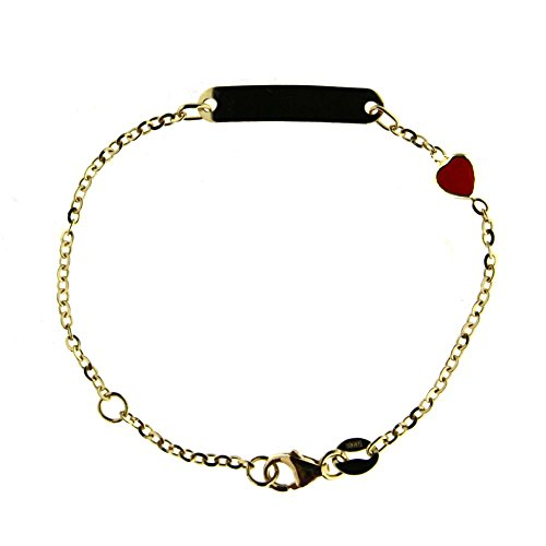 18K Yellow Gold Red enamel Heart ID bracelet 5.40 inches with extra ring at 4.75 inch by Amalia