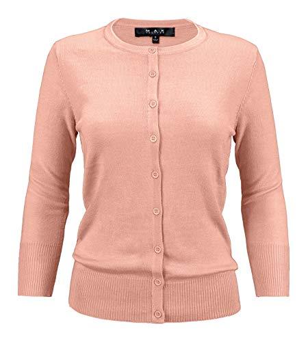 - YEMAK Women's 3/4 Sleeve Crewneck Button Down Knit Cardigan Sweater CO079-PBG-1X