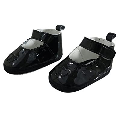 Baby Girls Black Patent Heart Shoes - Black - 12-18 Months: Amazon ...