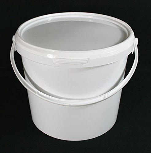 Lot de 5x 5litre hermétique alimentaire Blanc Traiteur mélanger Plastique seaux avec couvercle–Heavy Duty industriel Traiteur de cuisine de qualité