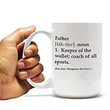 La definición de un padre 15 oz taza de café de cerámica - el regalo ideal para Papá y el Día del Padre: Amazon.es: Hogar