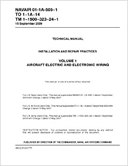 NAVAIR 01-1A-505-1 AIRCRAFT ELECTRIC AND ELECTRONIC WIRING VOLUME 1 on grounding manual, carpentry manual, parts manual, hardware manual, programming manual, software manual,