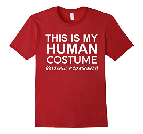 Fly Costumes (Mens This is My Human Costume, Really Dragonfly T-shirt Halloween 2XL Cranberry)