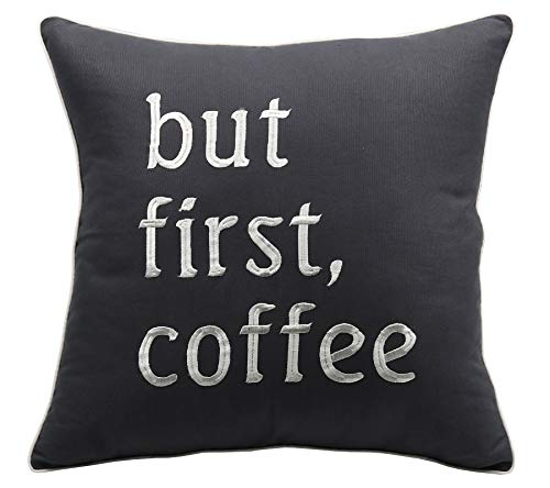 YugTex Pillowcases But First Coffee Embroidered Throw Pillow Cover Coffee Lovers Gift Coffee Shop Cushion Cover Wedding Anniversary Couple Lovers Cushion Cover (18