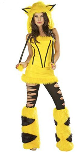 [Sidney Women's Pikachu Cosplay Costume Makeup Halloween Party Clothing] (Pikachu Costumes Women)
