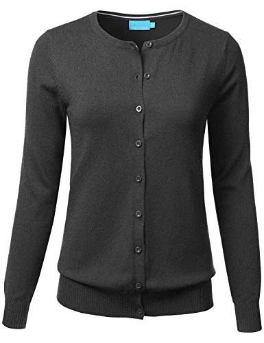 FLORIA Women's Button Down Crew Neck Long Sleeve Soft Knit Cardigan Sweater CHARCOALGRAY 2XL