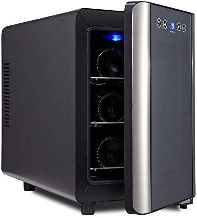 YFGQBCP 6 Botellas de termoeléctrica Enfriador de Vino Frigorífico, Control de Funcionamiento silencioso Touch Temperatura de Madera Temperatura de la Bandeja 8 ° C -18 ° C Puerta de Cristal
