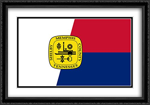 Memphis, Tennessee 2x Matted 40x28 Large Black Ornate Framed Art Print by The Flag Art Print - Memphis Galleria