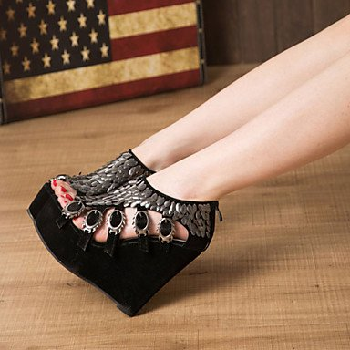 A Us8 Comfort Pu Piedi Sandali CN39 A Cn39 Black Cuneo Donna Tacco Eu39 UK6 Sequin RTRY Estivo EU39 Outdoor Uk6 US8 Zipper xEqI50nxw6