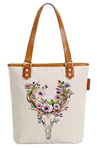 So'each Women's Deer Flower Canvas Tote Pearly Top Handle Shoulder Bag