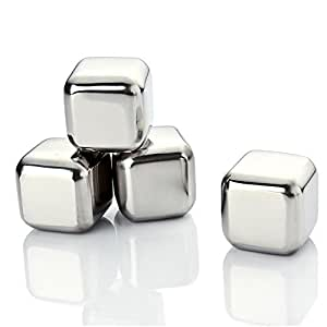 Jingwy Stainless Steel Chilling Ice Cubes, Whisky Stones and Sipping Stones Suitable for Whiskey, Vodka, Liqueurs, Wine, Set of 4 Pieces with free plastic storage box (4 Pieces)