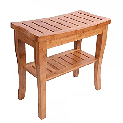 Utoplike 100% Natural Bamboo Shower Seat Bench Spa Bench with Bath Storage Shelf and Non-slip Rubber Feet Indoor and Outdoor Bench