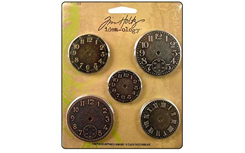 Metal Timepieces by Tim Holtz Idea-ology, 5 per Pack, Various Sizes, Antique Finishes, TH92831 ()