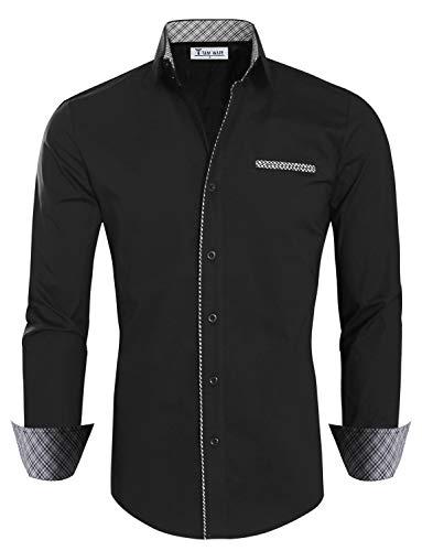 TAM WARE Mens Premium Casual Inner Contrast Dress Shirt TWNMS310-1-BLACKN-2XL Button Up Wool Coat